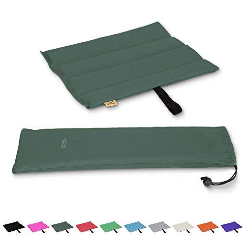 Mister Mountain® Outdoor Iso-Sitzkissen 31x35x1,2cm Leicht Faltbar & Waschbar. Thermokissen, Sitzmatte Inklusive Tasche. Sitzkissen mit Schutz vor Kälte, Nässe, Schmutz & Hitze. (Olivgrün)