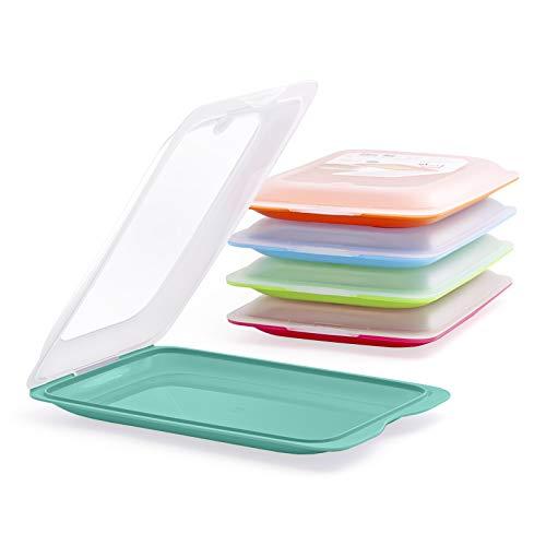 PracticFood - Set mit 5 Wurst- und Lebensmittelträgern Fresh-System, optimale Aufbewahrung von Scheiben im Kühlschrank, Maße 17 x 3,2 x 25,2 cm. 5 Farben
