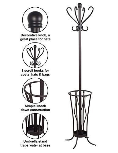 Leisure Space Metal Freestanding Coat Rack with Umbrella Stand and 8 Hooks (Brown Finish)