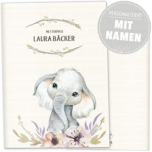 Mutterpasshülle 3-teilig Wildnis Schwangerschaft Geschenkidee personalisierbar mit Namen (Deutsche Mutterpasshülle personalisiert, Elefant)