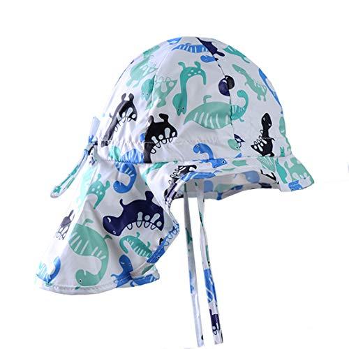 GWELL Kinder Sonnenhut Sommer Outdoor Strandhut UV Schutz Nackenschutz Mütze Sommerhut Fischerhut Weiß Dinosaurier 45
