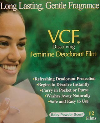 VCF Dissolving Vaginal Cleansing Film baby Powder Scent 12 each (3 pack)