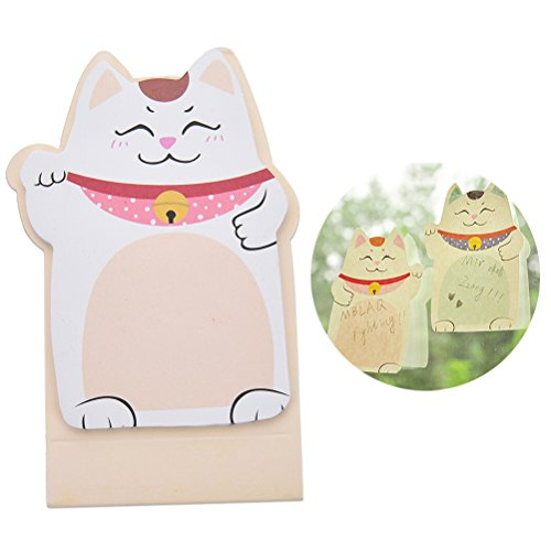 5 Packs Cute Lucky Cat Sticky Note Novelty Memo Pad Self-Stick Note Bookmark Page Flags Index Tab Reminder Sticky Notes Message Pad, Random Style