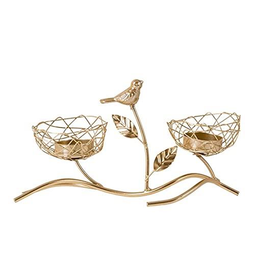 Candelabro de té dorado de hierro, decoración de estilo retro tipo nido de pájaro de rama de árbol para bodas, mesa de comedor, fiesta, candelabro de decoración del hogar (Color: Dorado, Tamaño: 24 v