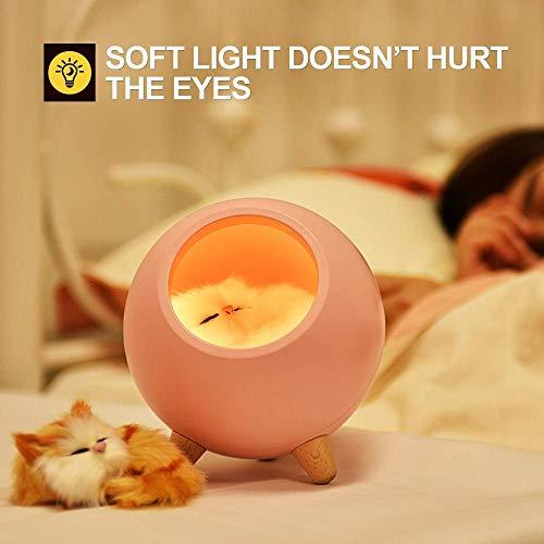 N/C Luz Nocturna para Niños Lámpara para Gatos Luz de Noche Linda Lámpara de Mesa para Casa de Mascotas Simple Luz Carga USB Carga Dual Luz Ambiental Iluminación Cat House LuzCasa para Mascotas Pink