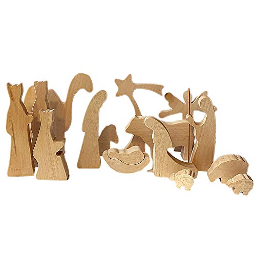 happysdh Household productsWooden Nativity Set Wooden Manger Creche Nativity Scene Montessori Inspired WeddFarmhouse Kitchen Decorations Wall Home Decor