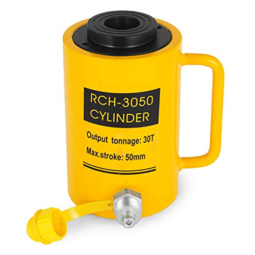 Mophorn 30T Hydraulic Cylinder Jack Hollow Single Acting Hydraulic Ram Cylinder 50mm Hydraulic Lifting Cylinders (30T 2Inch Hollow)