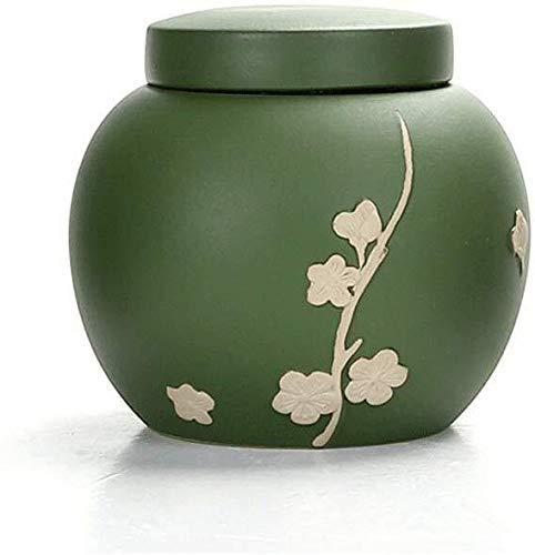 GCZZYMX Einzigartige Geprägte Plum Muster Keramik Urn für Ihre reizende Katze/Tier Memorial Asche Box-Erinnerung Einäscherung 0216,Style B-grün