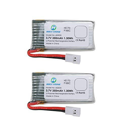 Holy Stone 2PCs of 3.7V 350mAh Lipo Battery for RC Quadcopter Holy Stone HS170,HS170C,F180W,F180C,Hubsan X4, H107D H107L (2 pcs)