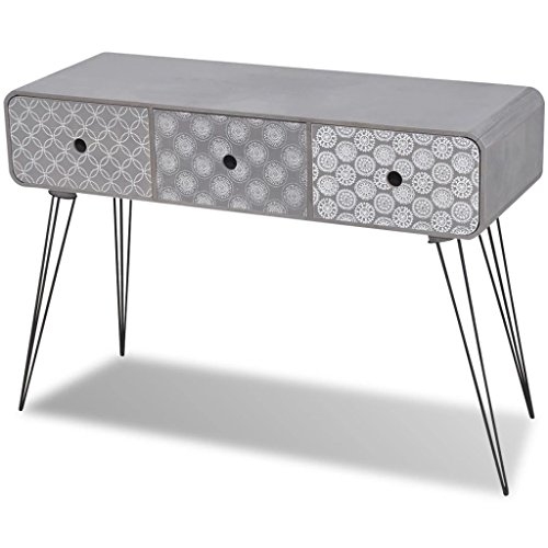 vidaXL Side Cabinet Console Table with 3 Drawers Grey Storage Cabinet Chest