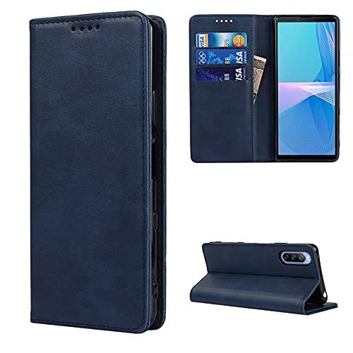 Copmob Hülle Sony Xperia 10 III,Flip Leder Brieftasche Handyhülle,[3 Steckplätze][Magnetverschluss][Ständerfunktion],Klapphülle Ledertasche Schutzhülle für Sony Xperia 10 III - Blau