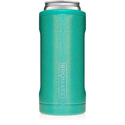 BrMate Hopsulator Slim Double-walled Stainless Steel Insulated Can Cooler for 12 Oz Slim Cans (Glitter Peacock)