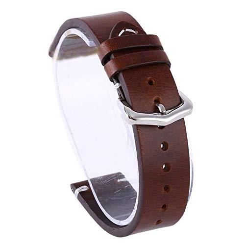 ZXF Bande Montre Cire Huile Peau Bracelets Montres Vintage Bracelet en Cuir Bracelets Montres 18mm 20mm 22mm Noir Marron Bracelet Inoxydable ##111 (Band Color : Brown, Band Width : 20mm)