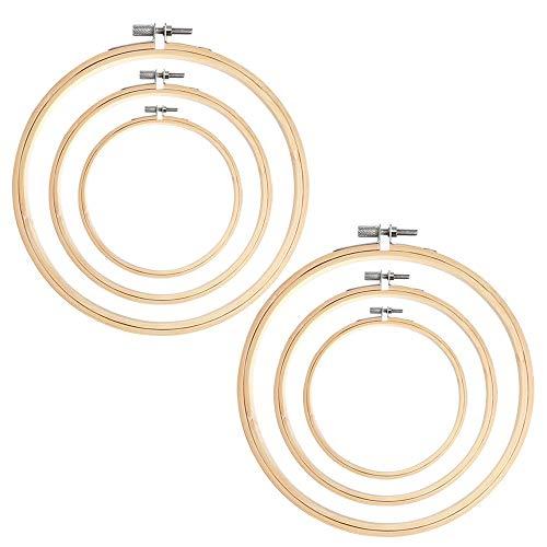 AYE 6 Pezzi Cerchi da Ricamo bambù Punto Croce Cerchio Anello per Fai da Te Arte Artigianato a Portata di Mano Cucito, 8 cm, 13 cm e 18 cm