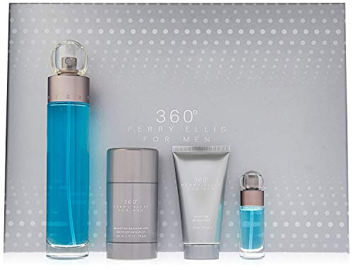 Perry Ellis 360 4 Piece Set For Men (3.4 Eau Di Toilette + 3.0 After Shave Balm + Deo Stickk + 75 Ml Eau Di Toilette Spray)