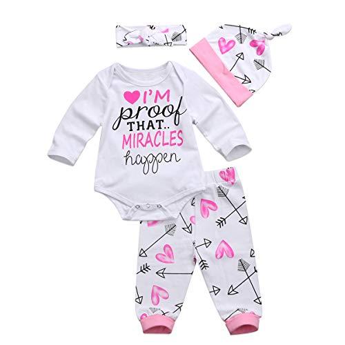 4 pcs Baby Girls Pants Set Newborn Infant Toddler Letter Romper Arrow Heart...