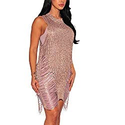 Rose Gold Sequin Bodycon Sleeveless Crochet Cover Up