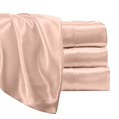 Satin Radiance Luxury Charmeuse Satin Sheet Set with Deep Fitting Pockets, 4 Piece Sheet and Pillowcase Set - Queen, Blush Pink