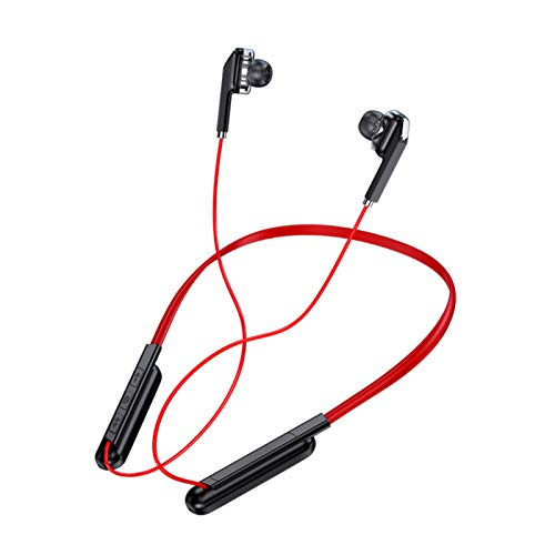 Fone de ouvido esportivo sem fio Bluetooth 5.0 subwoofer estéreo pendurado no pescoço pendurado metal magnético fone de ouvido Bluetooth (vermelho)