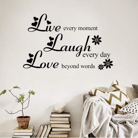 Luotears Liebe jenseits der Worte Lachen Jeden Tag Leben Jeden Moment Inspirierende Zitate Vinyl Entfernbare Wandaufkleber Wohnzimmer Wohnkultur