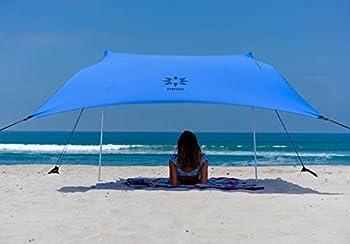 Neso Tente de Plage de Tente de avec l'ancre de Sable, Sunshade portative d'auvent - 2.1m 'x 2.1m - Coins renforcés par Brevet (Bleu pervenche)