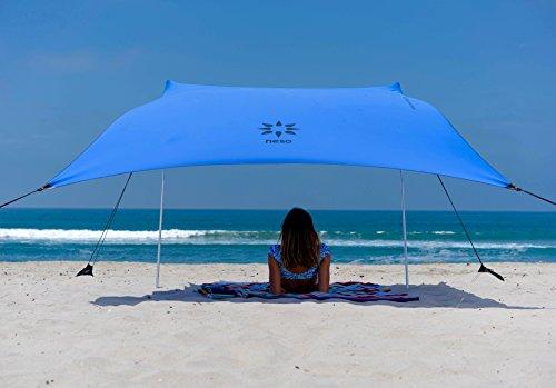 Neso Tienda de campaña Tents Beach con Ancla de Arena, toldo portátil Sunshade - 2.1m x 2.1m - Esquinas reforzadas patentadas(Bigaro Azul)