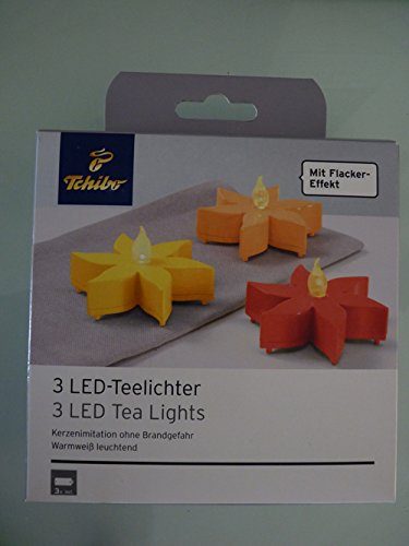 TCM Tchibo 3 LED Teelichter mit Flackereffekt warmweiß Kerzen Lichter