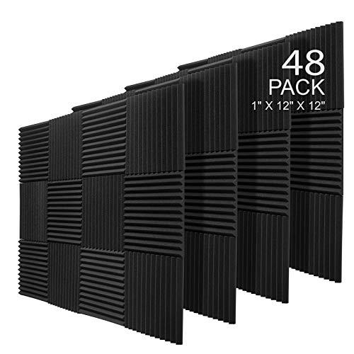 JBER 48 Pack Charcoal Acoustic Panels Studio Foam Wedges Fireproof Soundproof Padding Wall Panels 1' X 12' X 12'