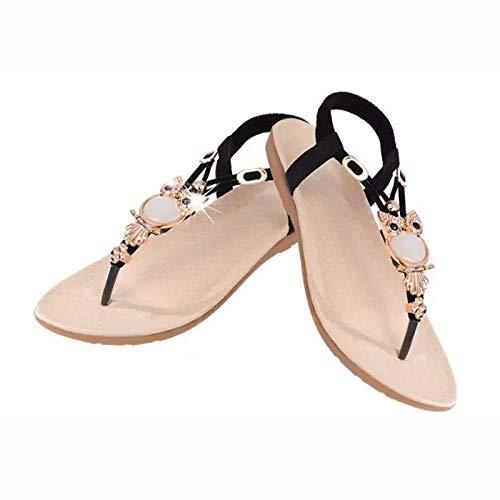 Uil parels platte sandalen Toe Beach dames sandalen 37 EU zwart