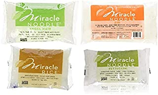 Miracle Noodle Shirataki Ziti, Fettuccini, Angel Hair & Rice Variety Pack, Gluten-Free, Zero Carb, Keto, Vegan, Soy Free, Paleo, Blood Sugar Friendly, 7oz (Pack of 4)