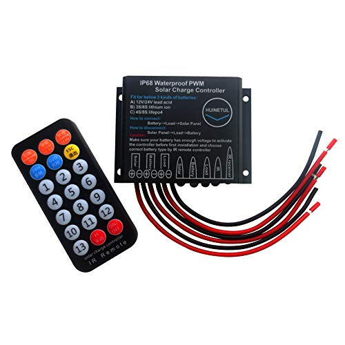 HUINETUL 12V 24V 20A IP68 Waterproof Solar Charge Controller Lithium ion Lifepo4 Lead-Acid Battery Regulator with IR Remote Controller