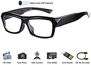 Video Glasses - HD 1080P Camera Glasses with Micro SD Card - Eye Glasses with Camera - Wearable Camera