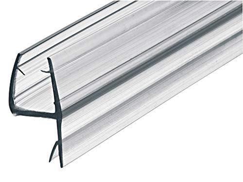 Gedotec Glastür-Dichtung Dusche Eckdichtung für Duschkabinen | Dusch-Türdichtung Länge 2000 mm | PVC Transparent | Duschdichtung für Glasdicke 8-10 mm | 1 Stück - 2 Meter Dichtlippe Duschtür
