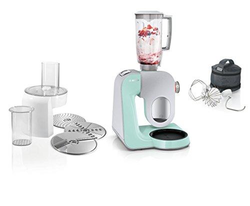 Bosch MUM58W20 CreationLine keukenmachine, roestvrij staal, 3,9 liter Zonder citruspers. 27.1 cm l x 28.2 cm w x 28 cm h Silber (Mint Türkis/Silber)