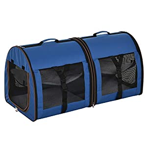 PawHut 39″ Portable Soft-Sided Pet Cat Carrier with Divider, Two Compartments, Soft Cushions, & Storage Bag, Blue