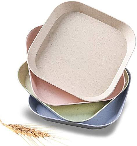 Dproptel 4 platos cuadrados de paja de trigo, 18 cm, irrompibles, livianos, sin BPA, platos de mesa, mini vajilla para frutas y postres