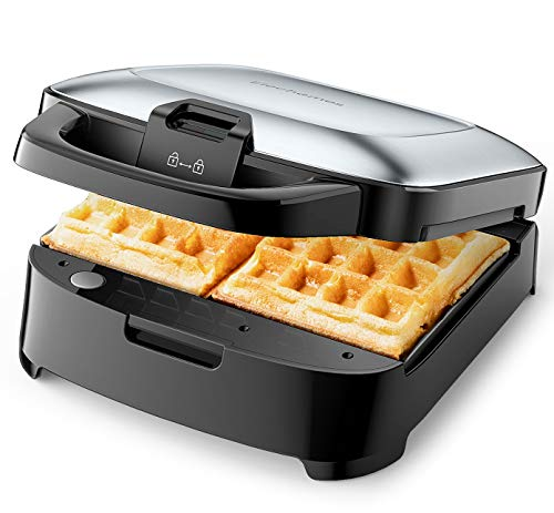 Elechomes Belgian Waffle Maker with Removable Plates, Non-Stick, 2-Slices, Cord-Storage, Easy to Use and Clean, Premium Stainless Steel