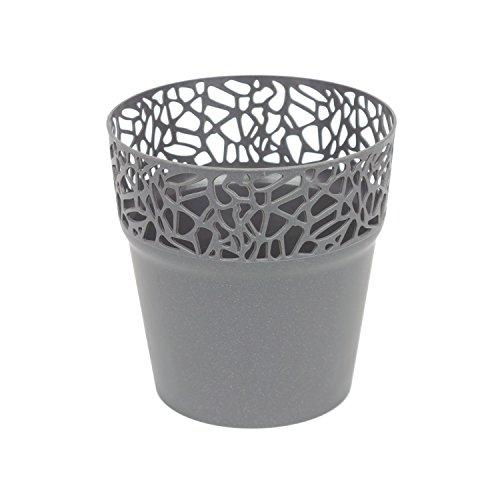 Rond cache-pot 14.5 cm NATURO plastique romantique style en graphite