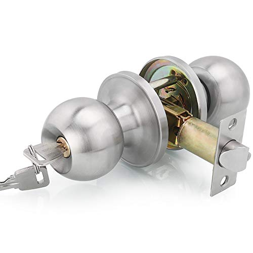 Qrity Stainless Steel Entracne Passage Door Handle Lock Knobs Lockset - Key Locking - Copper Lock Core - Latch Size 60/70mm
