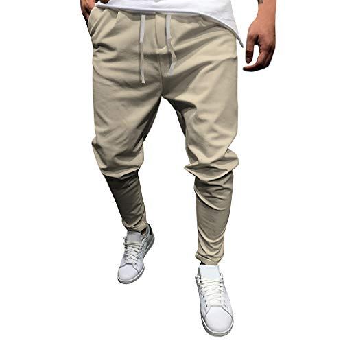 Jogginghose für Herren,Skxinn Männer Jogger Streetwear Sporthose, Stretch Enge Passform Pants,Dehnbare Einfarbig Casual Freizeithose Jogging Hose,Lang Hose Slim Fit M-5XL Ausverkauf(Khaki,XL)