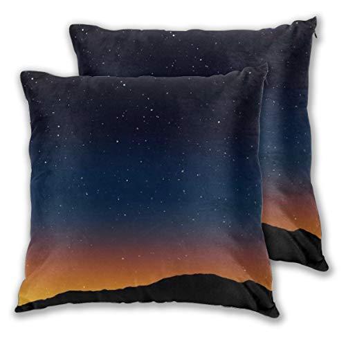 KASABULL 2 Pack Funda de Almohada Estrella Noche Knoll Horizon Cielo Estrellas Morning Hill Telescopio Textura Parques Diseño al Aire Libre Vía Láctea Lino Suave Cuadrado Sofá Cama 45cm x 45cm