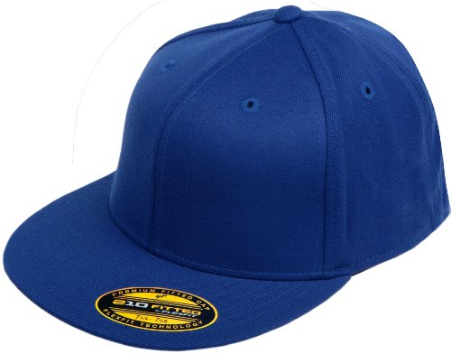 Flexfit Original Blank Flatbill Premium Fitted 210 Hat Cap Flex Fit Flat Bill Large/XLarge - Royal