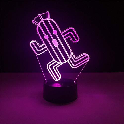 Leuke cactus illusie-nachtlampje 3D LED tafel bureaulampen, 7 kleuren USB opladen bedlampje slaapkamerdecoratie voor kinderen Kerstmis verjaardagscadeau