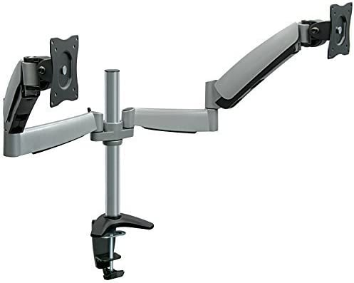 Mount-It! Dual Arm Monitor Mount   Dual Monitor Arm Stand   Two Full Motion Articulating Adjustable Gas Spring   Fits 22 23 24 27 Inch VESA Compatible Computer Screens   C-Clamp and Grommet Base