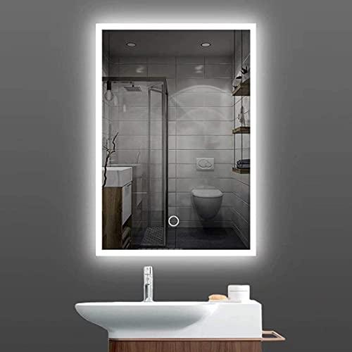Miroir de salle de bain LED 60 x 80 cm - Anti-buée - Miroir mural avec interrupteur tactile - Éclairage de salle de bain
