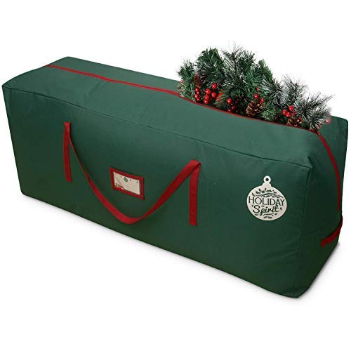 HOLIDAY SPIRIT Christmas Tree Storage Bag For Trees. Heavy-Duty 600D Oxford Material With Durable Reinforced Handles & Zipper, Waterproof Material Protects from the Elements