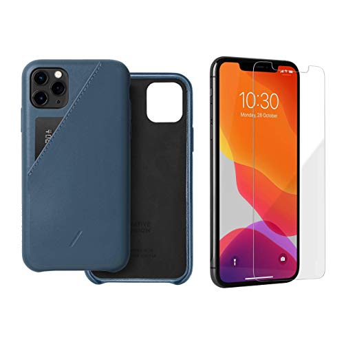 Native Union Clic Card Case Bundle w/Shield Screen Protector Creafted in Ultra Clear Tempered Glass - Compatible with iPhone 11 Pro Max (Indigo)