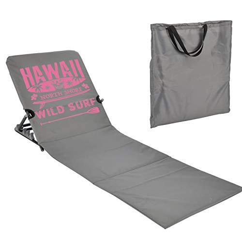JEMIDI Strandmatte Schwimmbadmatte mit Rückenlehne nur 1,7 kg - Super leicht!!! Schwimmbad Decke Matte Laken Liege Strandliege Grau/Pink Hawai