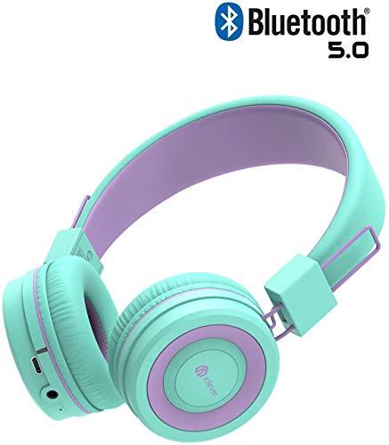 iClever Kids Bluetooth Hoofdtelefoon - Hoofdtelefoon voor Kinderen met MIC, Volume Controle Verstelbare Hoofdband, Opvouwbaar - Kinderen Hoofdtelefoon op Oor voor iPad Tablet Kindle Vliegtuig School, Groen/Paars