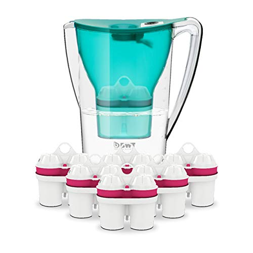 BWT Wasserfilter PENGUIN 2.7 l türkis inkl. 7 Filterkartuschen | Optimaler Kalkschutz & mit Magnesium mineralisiertes Wasser | Halbjahres-Vorrat an Kartuschen